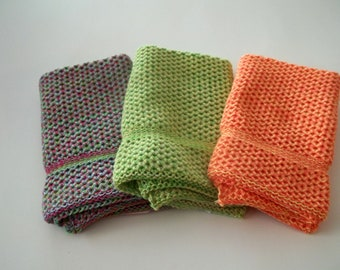 Dishcloths Knit in Cotton, Wash Cloth, Dish Cloth, Cotton Dishcloth, Lime, Apricot, Bright Yellow