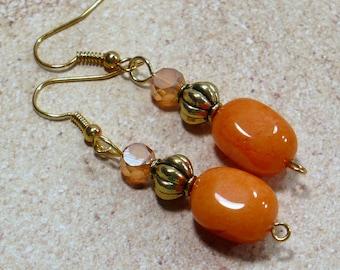 Orange & Gold Gemstone Earrings; Handmade Earrings, Quartzite Earrings, Woman's Earrings, Nickle-Free Earrings, Stocking Stuffer for Her