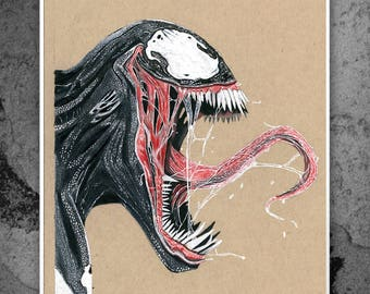 Venom - Tom Hardy - Illustrated Matt Print