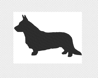 Dog Silhouette - Corgi with tail- Embroidery Design File - Instant Download - multiple sizes - multiple formats