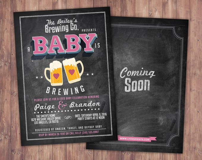 Coed baby shower invitation- Beer baby shower invitation- couples baby shower - girl baby shower - boy baby shower, couples shower