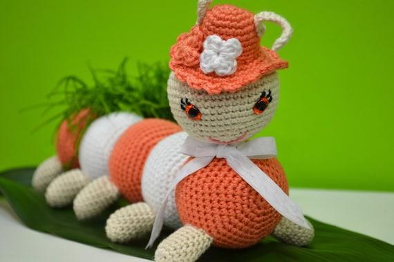 Amigurumi Caterpillar : On order caterpillar amigurumi crocheted chenille