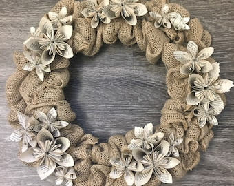 15-inch Handmade Burlap Wreath with Lord of the Rings Bookpage Flowers