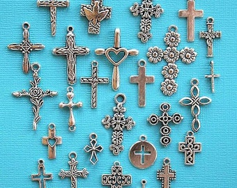 Deluxe Cross Charm Collection Antique  Silver Tone 26 Different Charms - COL258