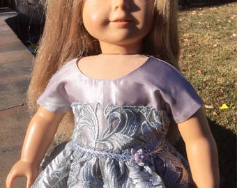 Silver party dress for 18 inch dolls like American girl, doll dress, 18 inch doll dresses, dolls, doll clothes, 18 inch dolls, doll outfit