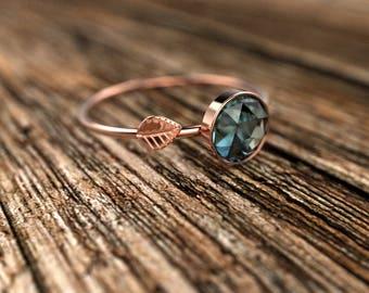 Rose Gold Rose Cut Blue Topaz Engagement Ring Rose Gold Blue Topaz Ring Blue Topaz Engagement Ring Blue Topaz Ring December Birthstone Ring