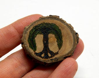 Tree of Peace Pyrography Rustic Twig Slice Brooch - Pin by Tanja Sova