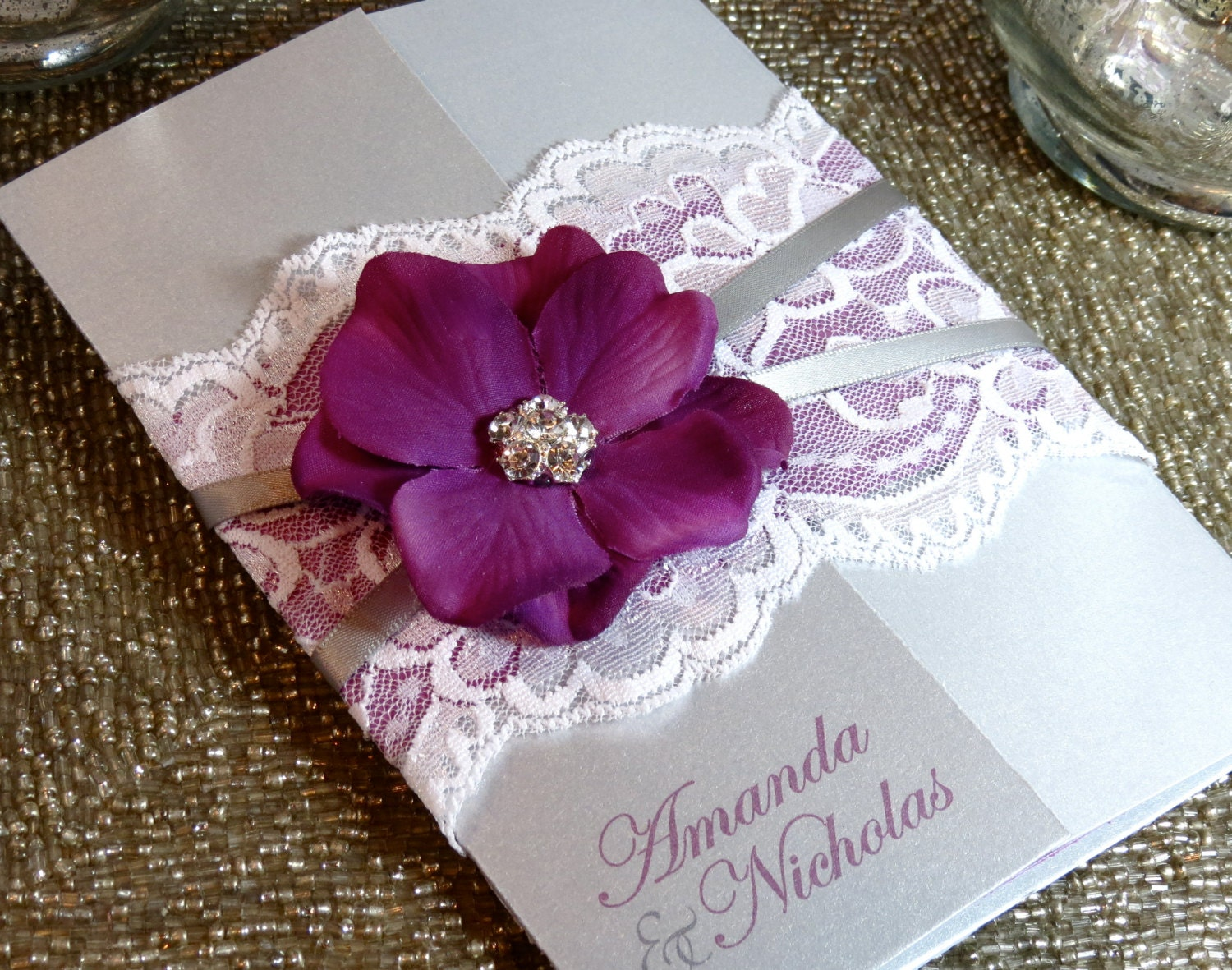 SUMMER: Vintage Lace Wedding Invitation Purple and Silver