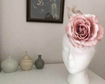 Dusky pink Rose detail fascinator