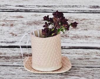 Elegant Tooth Brush Holder Soap Dish Set, Pale Pink, Glazed Stoneware Pottery, Mesh Texture, Shabby Chic, Bathroom, feminine, gift under 30