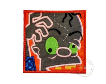 Zombie in a block iron on applique- no sew machine embroidered Halloween patch- Crazy undead-DIY boutique fashions- ready to ship