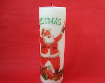 Retro Christmas Candle, Mid Century Santa Claus Holiday Candle, Merry Christmas Pillar Candle, Retro Holiday Decor, Christmas Decoration
