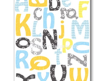 Alphabet Nursery Baby Boy Nursery Art Nursery wall art baby nursery kid room decor Kids Art Boy Print nursery alphabet blue gray yellow