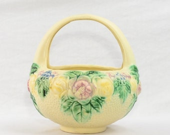 Roseville Pottery 1917 Rozane Line Textured Basket
