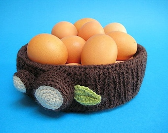 Tree Trunk Egg Bowl Basket Dish Easter Spring PDF CROCHET PATTERN Kitchen Decor