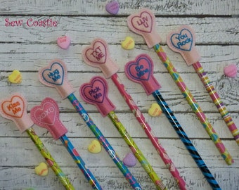 Conversation Heart Pencil Toppers - feltie machine embroidery design