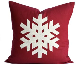 One Snowflake Christmas Pillow cover, 16x16,  holiday pillow, decorative pillow, cushion, Christmas decoration