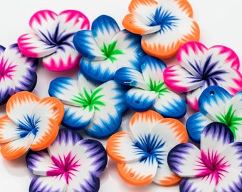 Flower Pendants, 12pcs, 35mm, Polymer Clay Pendants -B2197