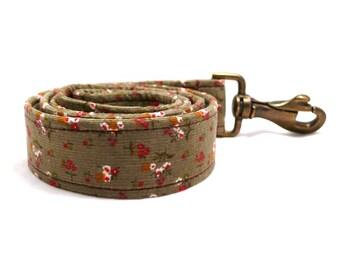 Khaki floral corduroy wide dog leash  -- L / XL / XXL size