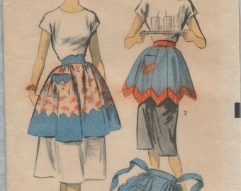 Advance 5883 / Vintage 50s Sewing Pattern / Tie On Hostess Apron / Size Medium