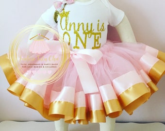 1st birthday tutu outfit - pink and gold ribbon tutu - baby girl 1st birthday outfit - turning one onesie - pink and gold birthday outfit