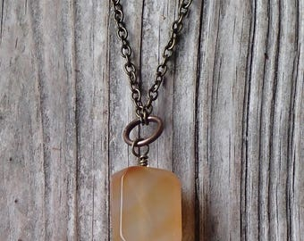 Long simplistic necklace, long chain agate pendant, agate stone minimalist necklace, yellow agate nugget, amber colored pendant necklace