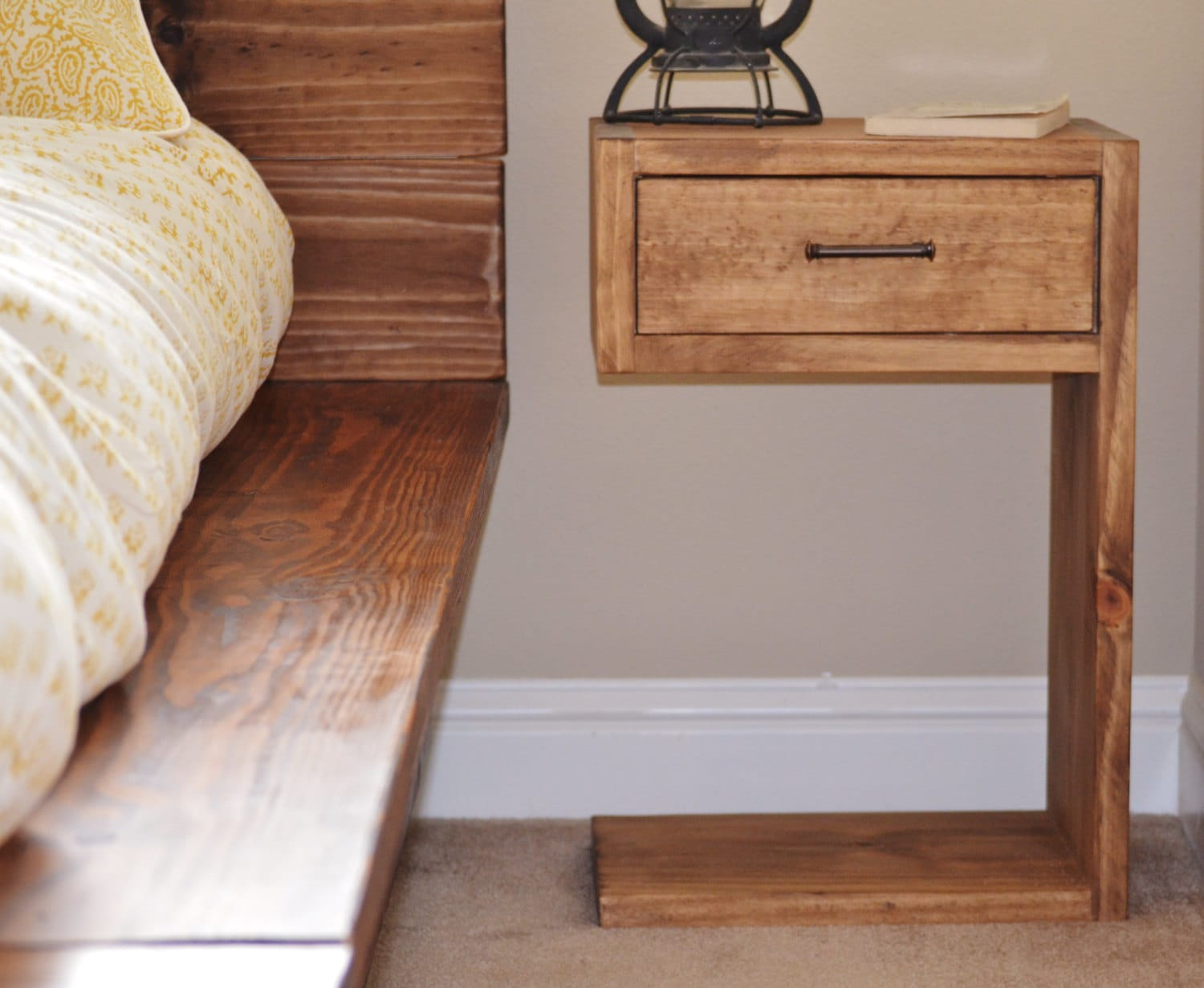 Beccar rustic wood nightstand Night table ideas