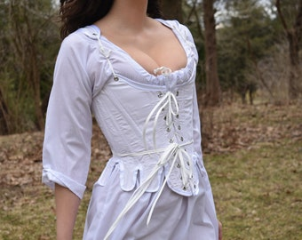 Corset; 18th Century Stay; Historical Corset; Historical Stay; Stays; Corset; White Corset