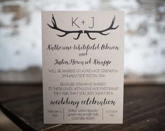 Rustic Wedding Invitation, Antler Invitation, Deer Invitation- Rustic Antler Wedding Suite : A7 Wedding Invitations