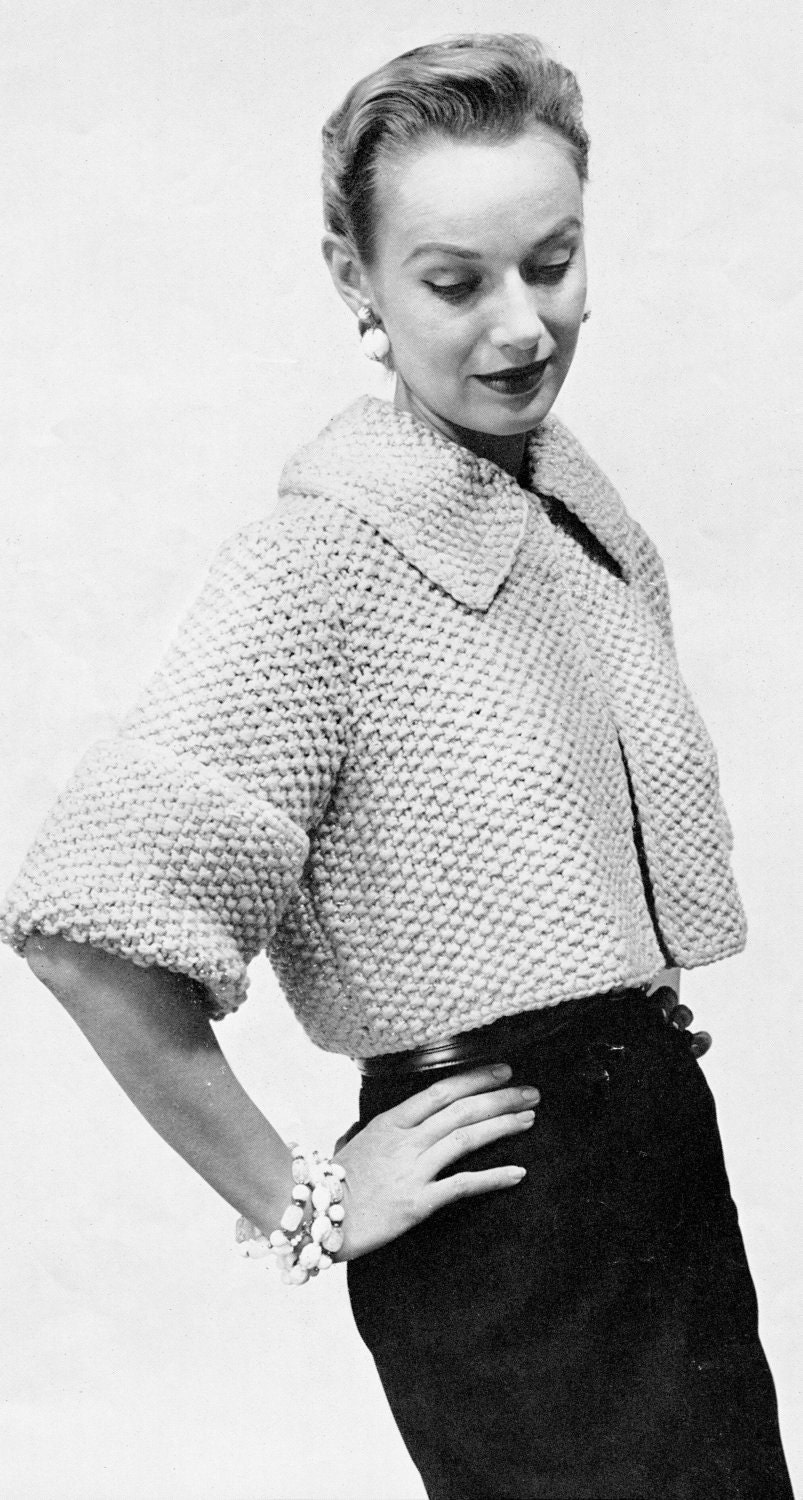 Women's 1960s Vintage Collared Cropped Jacket Knitting