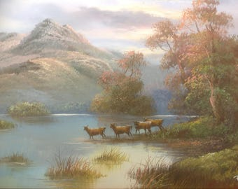 Vintage R. Danford Original Oil Painting of Landscape Scene with Bovidae Cattle / Wildebeests by a River