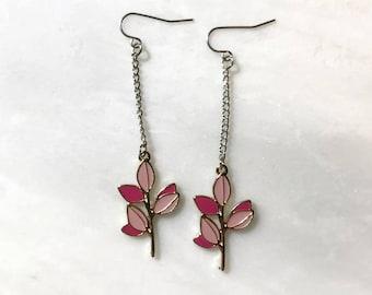 Pink Olive Tree Branch Silver Hook Earrings