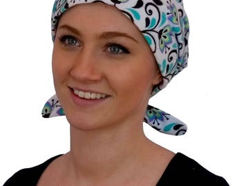 Krystal Women's Flannel Head Scarf, Cancer Hat, Chemo Headwear, Alopecia, Head Wrap, Head Cover, Hair Loss, Cancer Gift - Turquoise Flowers