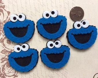 Set of 5 Adorable Blue Cookie Monster Felties/Felt Appliques/Felt Embelishment/Sesame Street Cookie Monster/Sesame Street