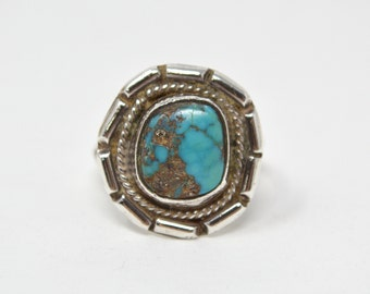 Vintage Southwest Turquoise Rope Design Sterling Silver Ring - Size 6.5 - 603813611