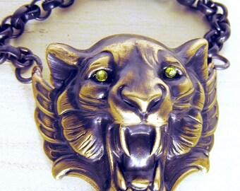Lion Head Bracelet, Lion Bracelet, Cuff Bracelet, Lion Cuff, Lime Green, Crystal Eyes, Edgy Jewelry, Cuffed Lion Head, Dark Patina