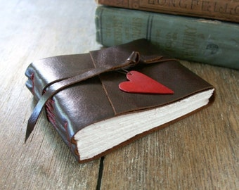 Leather Journal / Sketchbook / Guestbook . Small & Chunky . handmade handbound . dark brown with red heart (320 pgs)