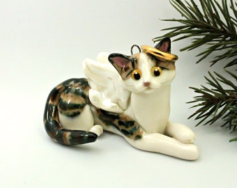 Angel Cat Brown Tabby PORCELAIN Christmas Ornament Figurine