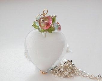 Blanc Murano Semi précieux collier