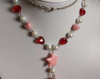 Upcycled Love-a-Lot Bear Pink & Red Heart Necklace
