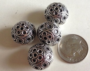 Genuine Bali Sterling Silver 12 x 15mm Dot and Circles Design Beads, Sterling Silver Beads, Jewelry Supplies