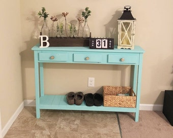 Rustic Farmhouse Entry Table With Faux Drawers
