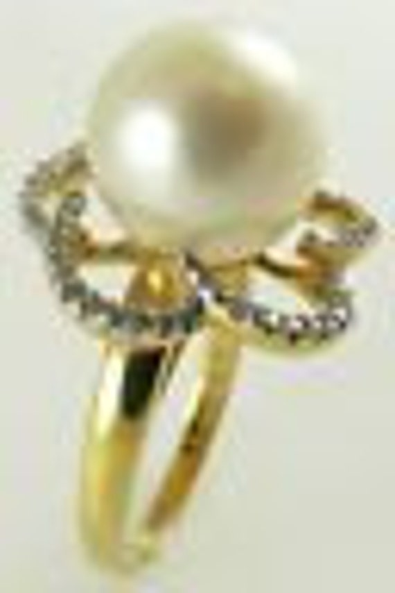South Sea White 11.5mm Pearl Ring 18K Yellow Gold with Diamonds 0.29ct