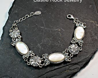 Sterling Silver, Mother of Pearl and Clear Rhinestone Vintage Panel Bracelet