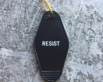 RESIST Hotel Key Chain in Black and White by Minor Thread Motel Key Fob