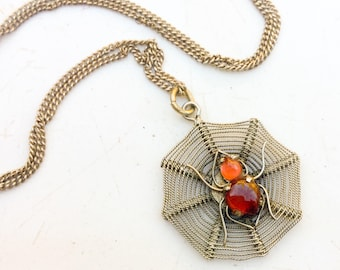Vintage Spiderweb necklace. Sterling silver Spider Web Carnelian? Glass? Handmade. Bug jewelry LA eb