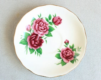 Royal Vale, Orphan Saucer,  Replacement Saucer, Red Peony, Saucer ONLY, Vintage Bone China, Vintage China Plates, Made in England, Tea Party