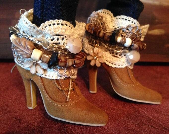 Boho Boot Cuffs for Fairyland Minifee Aline and Fairyline BJD Dolls