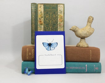 Ex libris book plates with blue butterfly. 17 bookplate stickers plus envelope. Can be personalized with name and custom text.