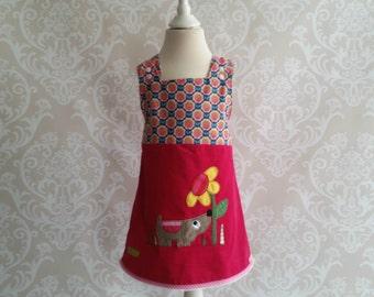 Dog dress, Flower, Latzkleid, Latzrock, Gr. 50 -146, Cordkleid, Latzkleid dog, dog dress, summer dress, floral dress, Deincord, Babycord, Ruffle, button,